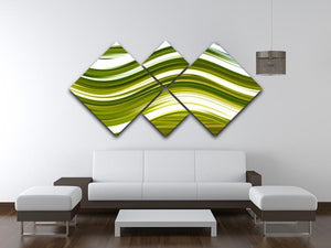 Green Wave 4 Square Multi Panel Canvas - Canvas Art Rocks - 3