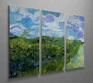 Green Wheat Fields by Van Gogh 3 Split Panel Canvas Print - Canvas Art Rocks - 4