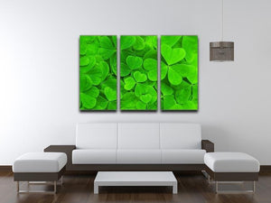 Green clover leaf 3 Split Panel Canvas Print - Canvas Art Rocks - 3