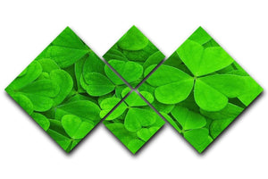 Green clover leaf 4 Square Multi Panel Canvas  - Canvas Art Rocks - 1