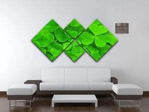 Green clover leaf 4 Square Multi Panel Canvas  - Canvas Art Rocks - 3