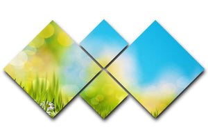 Green foliage under bright summer sun 4 Square Multi Panel Canvas  - Canvas Art Rocks - 1