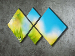 Green foliage under bright summer sun 4 Square Multi Panel Canvas  - Canvas Art Rocks - 2