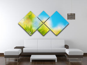 Green foliage under bright summer sun 4 Square Multi Panel Canvas  - Canvas Art Rocks - 3