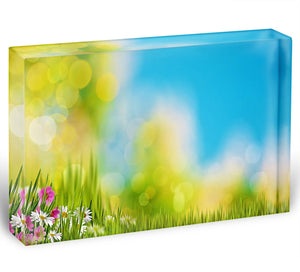Green foliage under bright summer sun Acrylic Block - Canvas Art Rocks - 1