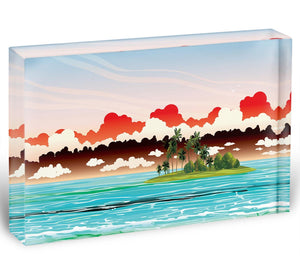 Green island with coconut palms Acrylic Block - Canvas Art Rocks - 1