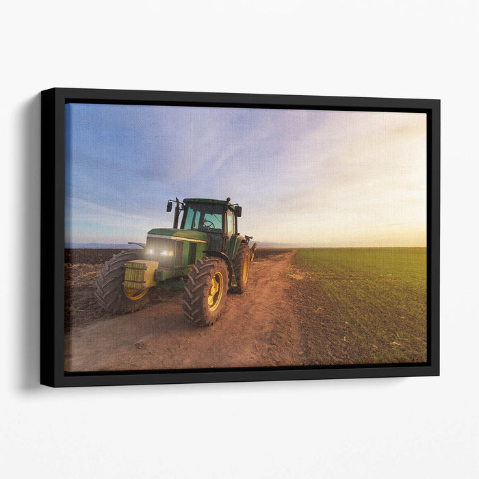 Green tractor Floating Framed Canvas