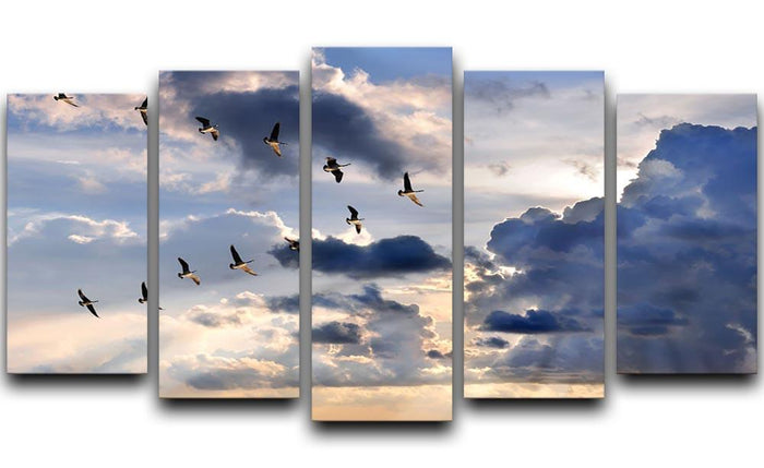 Group of Canadian geese flying in V-formation 5 Split Panel Canvas