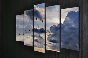 Group of Canadian geese flying in V-formation 5 Split Panel Canvas - Canvas Art Rocks - 2