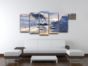 Group of Canadian geese flying in V-formation 5 Split Panel Canvas - Canvas Art Rocks - 3