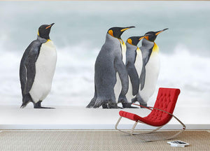Group of four King penguins Wall Mural Wallpaper - Canvas Art Rocks - 2