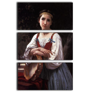 Gypsy Girl with a Basque Drum By Bouguereau 3 Split Panel Canvas Print - Canvas Art Rocks - 1