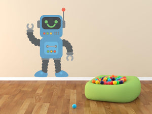 Happy Blue Robot Wall Decal - Canvas Art Rocks - 1