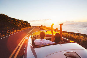 Happy Couple Driving Wall Mural Wallpaper - Canvas Art Rocks - 1