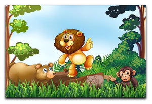 Happy animals living in the jungle Canvas Print or Poster - Canvas Art Rocks - 1