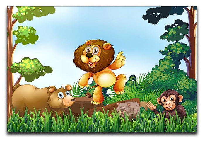 Happy animals living in the jungle Canvas Print or Poster