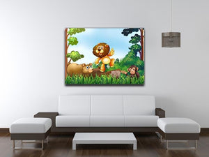 Happy animals living in the jungle Canvas Print or Poster - Canvas Art Rocks - 4