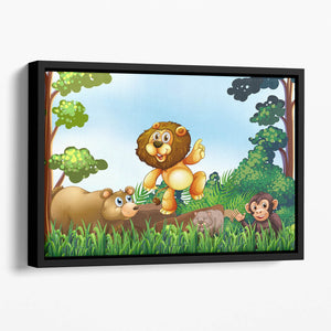 Happy animals living in the jungle Floating Framed Canvas