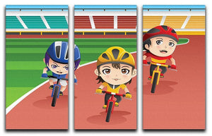 Happy kids in a bicycle race 3 Split Panel Canvas Print - Canvas Art Rocks - 1