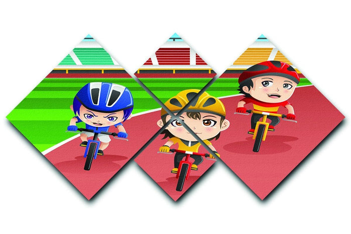 Happy kids in a bicycle race 4 Square Multi Panel Canvas