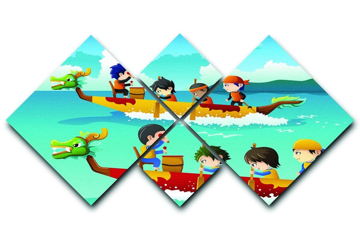 Happy kids in a boat race 4 Square Multi Panel Canvas