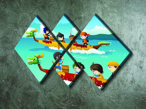 Happy kids in a boat race 4 Square Multi Panel Canvas - Canvas Art Rocks - 2