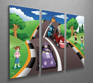 Happy kids in a box car race 3 Split Panel Canvas Print - Canvas Art Rocks - 2