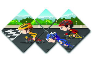 Happy kids in a race 4 Square Multi Panel Canvas  - Canvas Art Rocks - 1