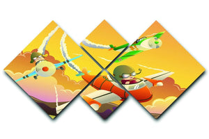 Happy kids in an airplane race 4 Square Multi Panel Canvas  - Canvas Art Rocks - 1