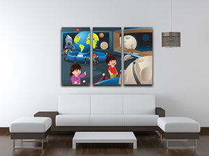 Happy kids on field trip to a planetarium 3 Split Panel Canvas Print - Canvas Art Rocks - 3