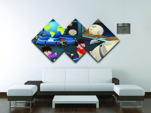 Happy kids on field trip to a planetarium 4 Square Multi Panel Canvas - Canvas Art Rocks - 3