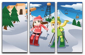 Happy kids skiing together 3 Split Panel Canvas Print - Canvas Art Rocks - 1