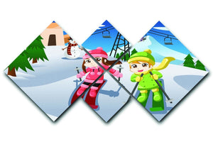 Happy kids skiing together 4 Square Multi Panel Canvas  - Canvas Art Rocks - 1