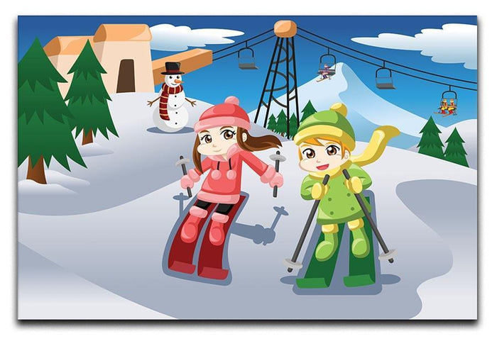Happy kids skiing together Canvas Print or Poster