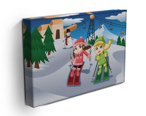 Happy kids skiing together Canvas Print or Poster - Canvas Art Rocks - 3