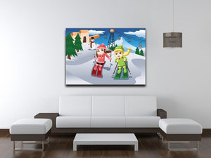 Happy kids skiing together Canvas Print or Poster - Canvas Art Rocks - 4