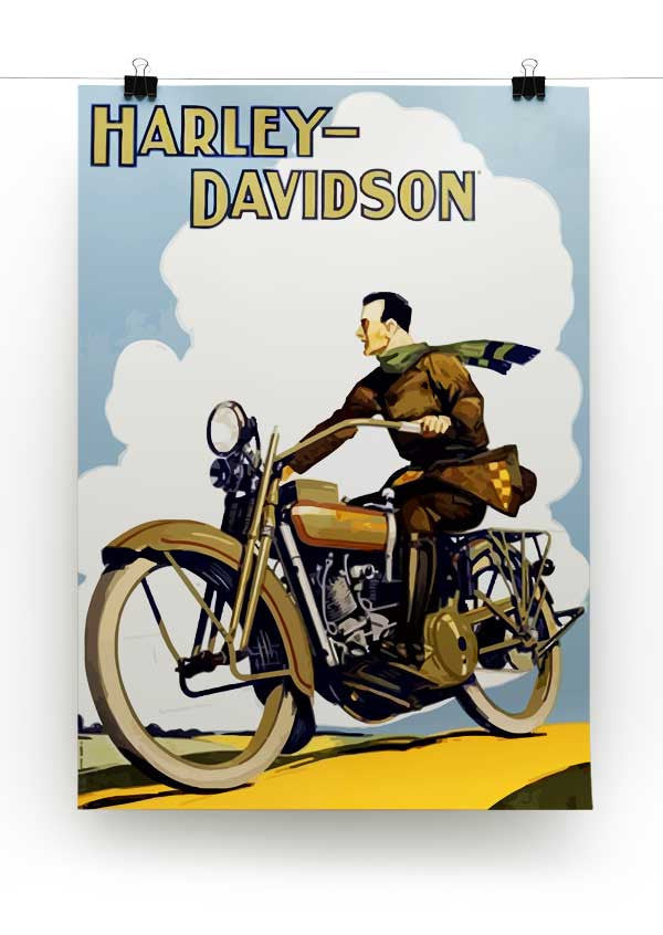 Vintage Harley Davidson Print - Canvas Art Rocks - 2