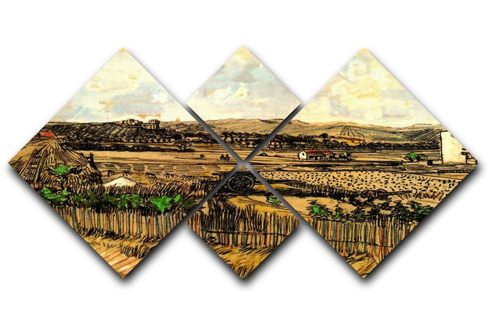 Harvest in Provence at the Left Montmajour by Van Gogh 4 Square Multi Panel Canvas