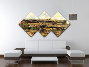 Harvest in Provence at the Left Montmajour by Van Gogh 4 Square Multi Panel Canvas - Canvas Art Rocks - 3