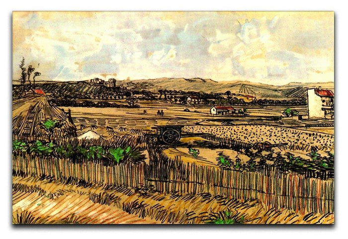 Harvest in Provence at the Left Montmajour by Van Gogh Canvas Print or Poster