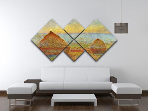 Haystack 1 by Monet 4 Square Multi Panel Canvas - Canvas Art Rocks - 3