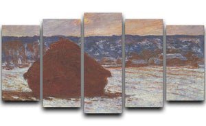 Haystacks snow covered the sky by Monet 5 Split Panel Canvas  - Canvas Art Rocks - 1