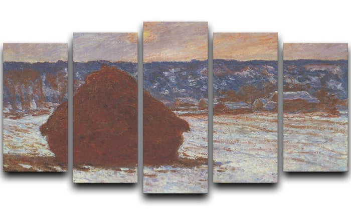 Haystacks snow covered the sky by Monet 5 Split Panel Canvas