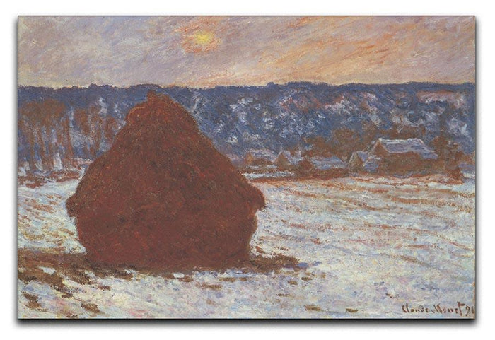 Haystacks snow covered the sky by Monet Canvas Print or Poster