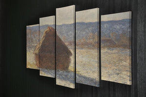 Haystacks snow morning by Monet 5 Split Panel Canvas - Canvas Art Rocks - 2