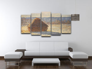 Haystacks snow morning by Monet 5 Split Panel Canvas - Canvas Art Rocks - 3