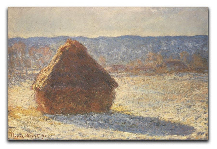 Haystacks snow morning by Monet Canvas Print or Poster