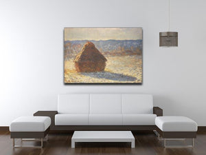 Haystacks snow morning by Monet Canvas Print & Poster - Canvas Art Rocks - 4