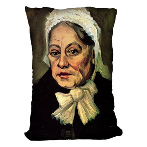 Head of an Old Woman with White Cap The Midwife by Van Gogh Throw Pillow