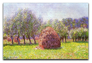 Heap of hay in the field by Monet Canvas Print & Poster  - Canvas Art Rocks - 1